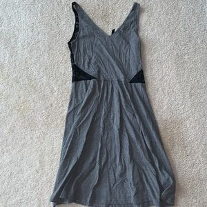 Grey and black lace back dress